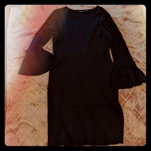 NWOT Nina Leonard Navy Ribbed Ruffle Sleeve Dress